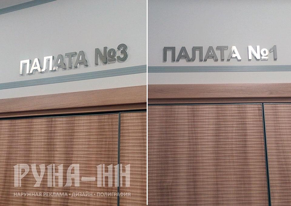 010 - Буквы, шлифованная нержавеющая сталь, на подложке из акрилового стекла