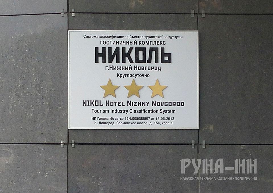 026 - Композит с объемными буквами, обкладка нельсон, монтаж без нарушения целостности плитки
