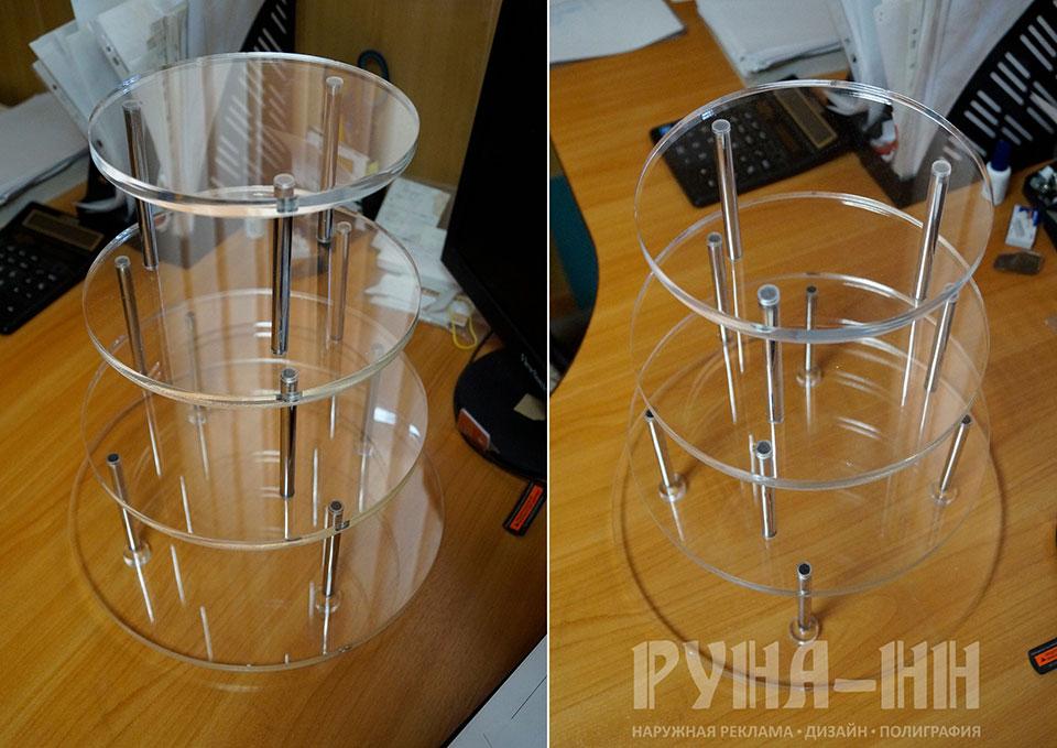 026 - Подставка из оргстекла. Хромированная трубка. Лазерная резка.