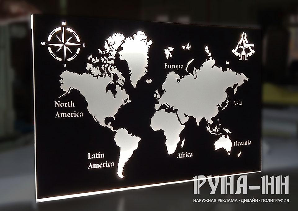 214 - Световое пано, карта мира, подсветка диодами
