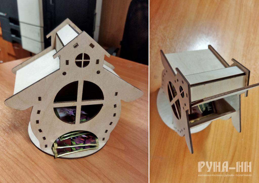 069 - Чайный домик, фанера 3мм, лазерная резка, крепление шип-паз, с отсеком для конфет 4